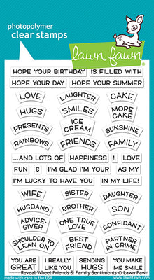 Lawn Fawn Reveal Wheel Friends & Family Sentiments Stamps