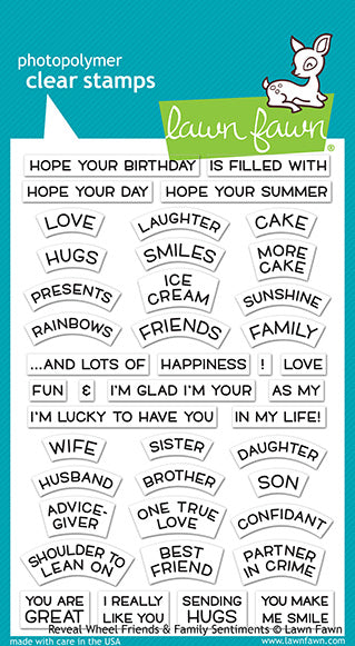 Lawn Fawn Reveal Wheel Friends & Family Sentiments Stamps | Craftastic Cabin Inc