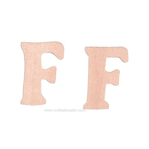 Letter F Wood Cutouts: Unfinished, 1.5 Inches, 2 Pack | Craftastic Cabin Inc