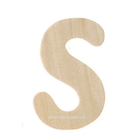 Letter S Wood Cutouts: Unfinished, 1.5 Inches, 2 Pack | Craftastic Cabin Inc