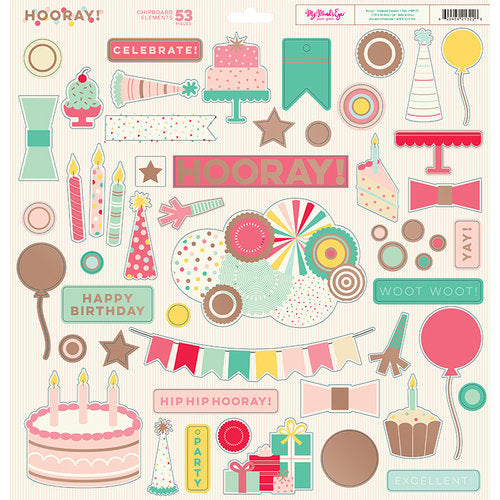 My Mind's Eye Hooray Collection Chipboard Elements | Craftastic Cabin Inc