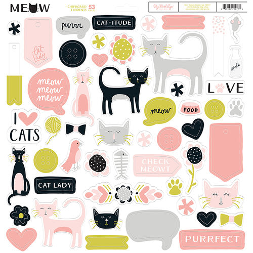 My Mind's Eye Collection Meow Chipboard Elements | Craftastic Cabin Inc