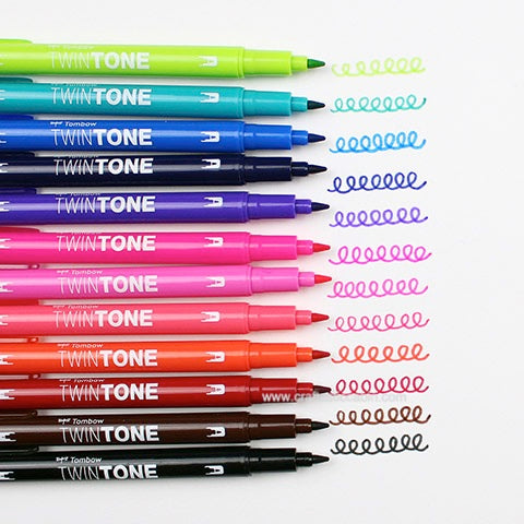 Tombow Twintone Dual Tip Markers: Bright Color Set 12pk | Craftastic Cabin Inc