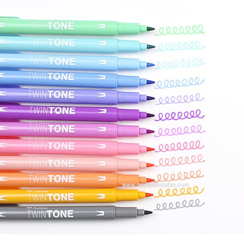 Tombow Twintone Dual Tip Markers: Pastel Color Set 12pk - Craftastic Cabin Inc
