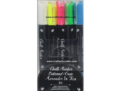 American Crafts Marker Erasable Chalk 5pc Multicolor