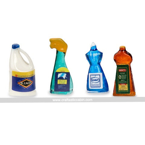 Timeless Minis™ Cleaning Supplies .375 X .875 Inches 4 Pieces | Craftastic Cabin Inc