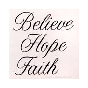 "Decorative Word Decals: Matte Black Script ""Believe Hope Faith"" Stickers"