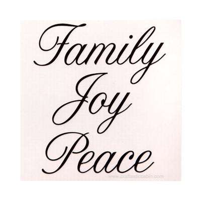 Decorative Word Decals: Matte Black Script Family, Joy, Peace Rub-On Stickers