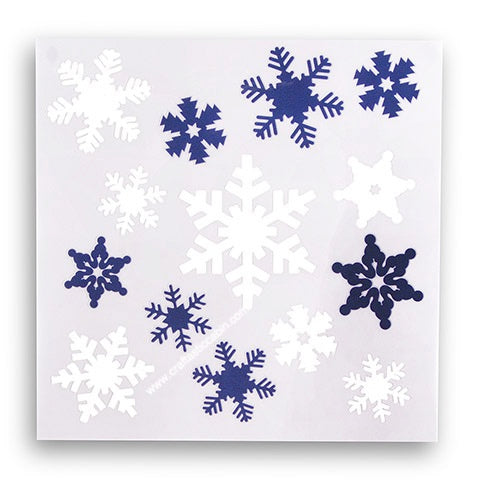 Snowflake Decals: White/Blue, 6 X 6 Inches | Craftastic Cabin Inc