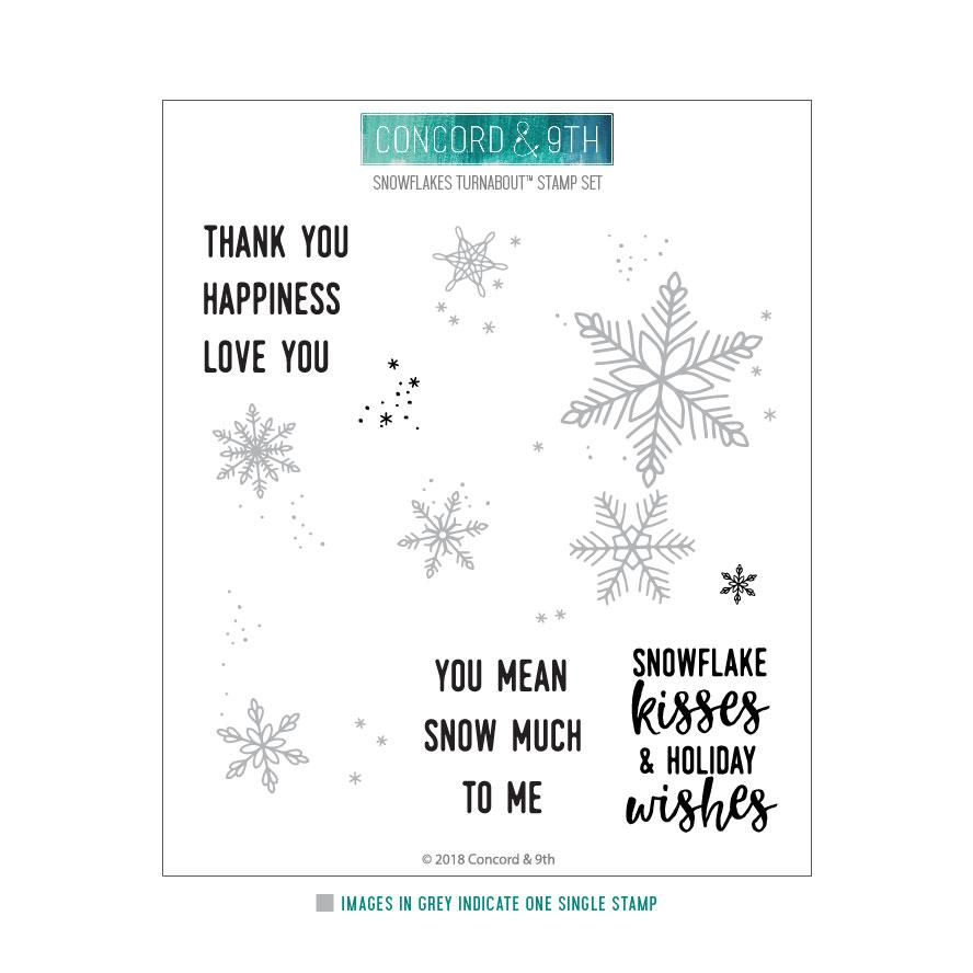 Concord & 9th Clear Stamps - SNOWFLAKES TURNABOUT™ STAMP SET | Craftastic Cabin Inc