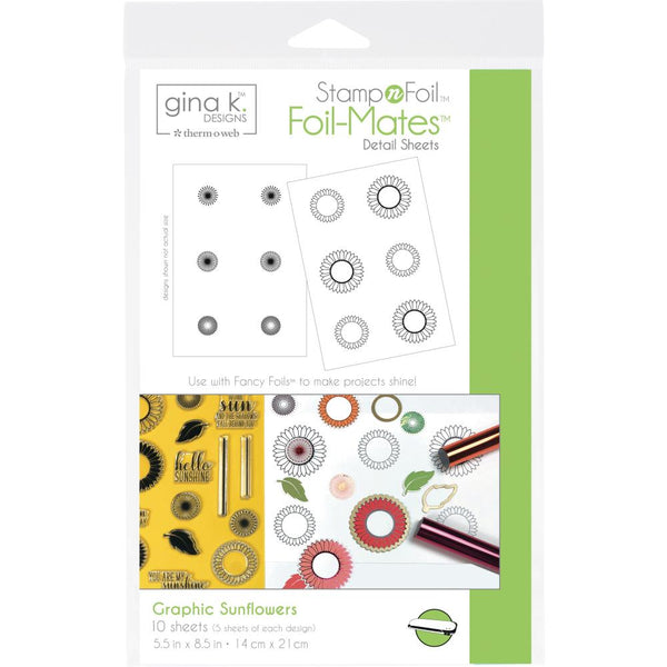 Gina K Designs StampNFoil Foil-Mates Detail Sheets 10/Pkg - Graphic Sunflowers | Craftastic Cabin Inc