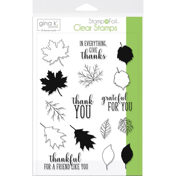 Gina K Designs Clear Stamps - Thankful Leaves | Craftastic Cabin Inc