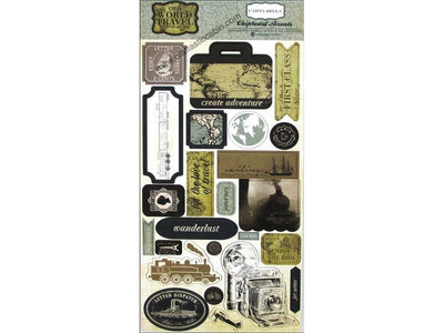 Carta Bella Collection Old World Travel Chipboard 6