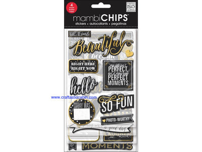Me & My Big Ideas Chipboard Chips Chalk Makes Me Smile Gold