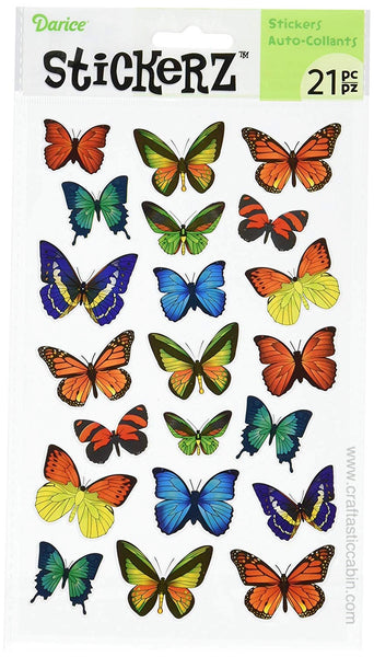 Darice Stickerz BUTTERFLY Themed Stickers, 21 Piece | Craftastic Cabin Inc
