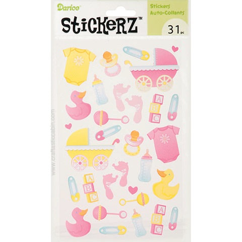 Darice Stickerz Baby Girl Themed Stickers, 31 Piece | Craftastic Cabin Inc