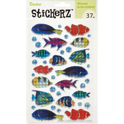 Darice Stickerz Holographic FISH Themed Stickers, 16 Piece