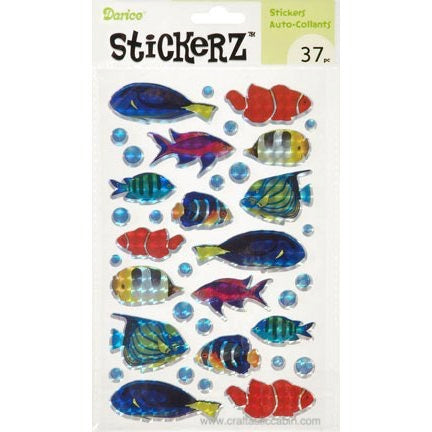 Darice Stickerz Holographic FISH Themed Stickers, 16 Piece | Craftastic Cabin Inc
