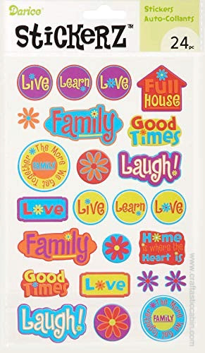 Darice Stickerz LIVE LOVE LAUGH Themed Stickers, 24 Piece | Craftastic Cabin Inc