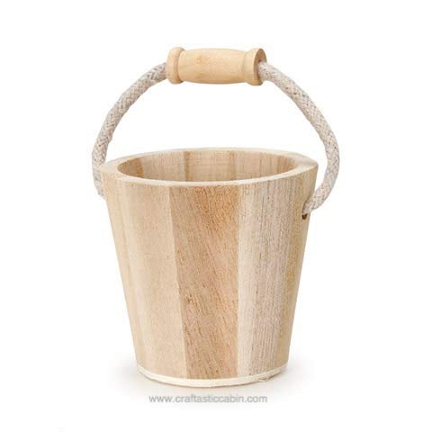 Darice Wood Bucket with Rope Handle | Craftastic Cabin Inc