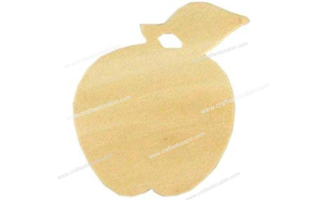 "Wood Shape Unfinished 3.5""x3"" Apple"