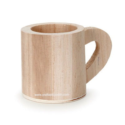 Unfinished Wood Mug Design Bucket 2.25 inches Diameter