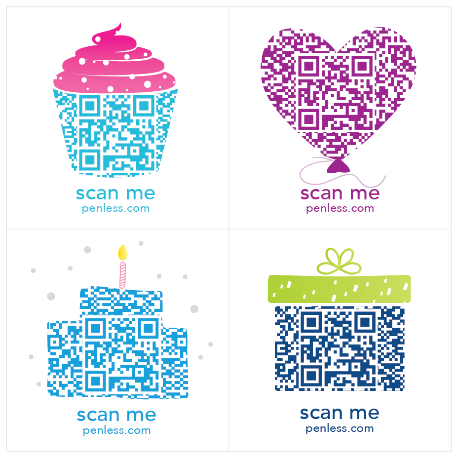 Penless QR Code Sticker 4 Pack - Birthday