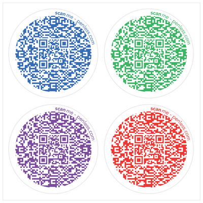 Penless QR Code Sticker 4 Pack - Circle Primary Color