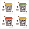 Penless QR Code Sticker 4 Pack - Coffee Cup with Lid