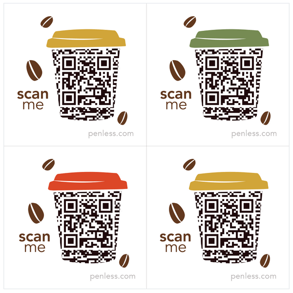 Penless QR Code Sticker 4 Pack - Coffee Cup with Lid | Craftastic Cabin Inc