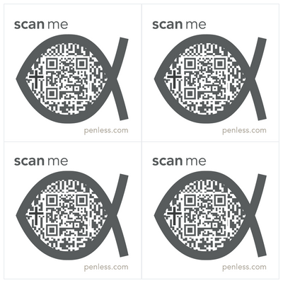 Penless QR Code Sticker 4 Pack - Religious Fish