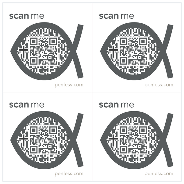 Penless QR Code Sticker 4 Pack - Religious Fish | Craftastic Cabin Inc