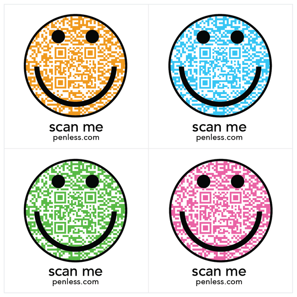 Penless QR Code Sticker 4 Pack - Emoji Smiley Face | Craftastic Cabin Inc