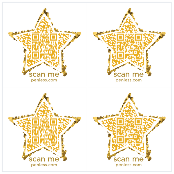 Penless QR Code Sticker 4 Pack - Star | Craftastic Cabin Inc