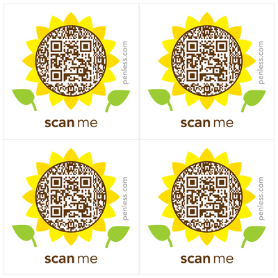 Penless QR Code Sticker 4 Pack - Sunflower
