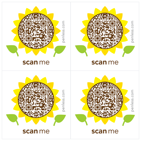 Penless QR Code Sticker 4 Pack - Sunflower | Craftastic Cabin Inc