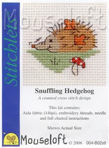 Mouseloft - Counted Cross Stitch Kit - Stitchlets Collection - Snuffling Hedgehog