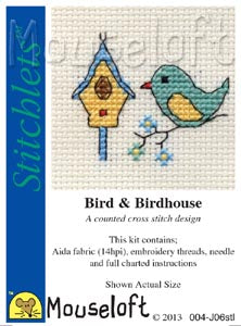 Mouseloft - Counted Cross Stitch Kit - Stitchlets Collection - Bird & Birdhouse