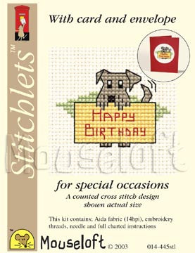 Mouseloft - Counted Cross Stitch Kit - Card Occasions Stitchlets Collection - Happy Birthday Dog