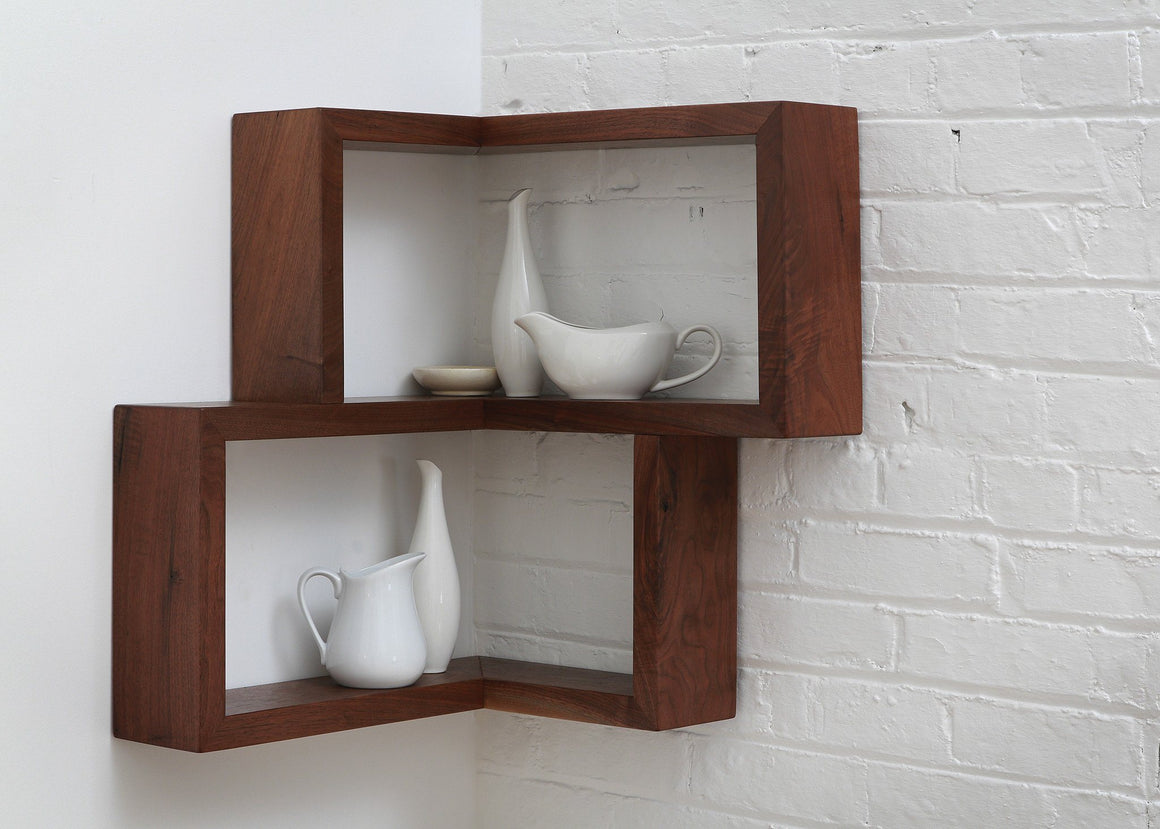 Corner wood shelf floating shelf walnut shelf maple cherry wood shelving shelves