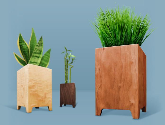 Cherry Wood Planter