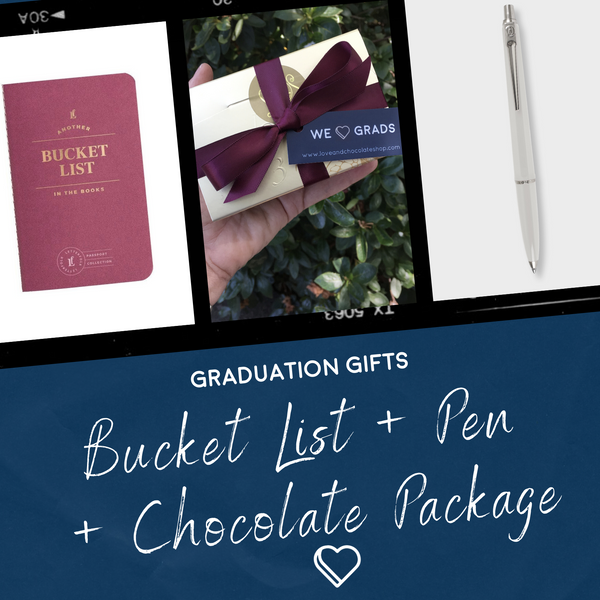 Gift for Grads: Bucket List + Pen + Chocolate Gift Package