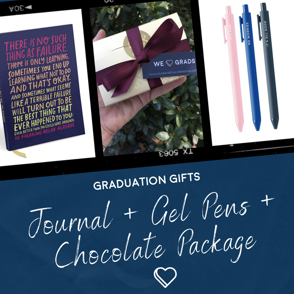 Gift for Grads: Journal + Pens + Chocolate Gift Package
