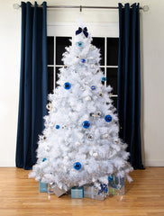 White Scandinavian Flock Artificial Christmas tree. 6.5ft tall, Wide tree