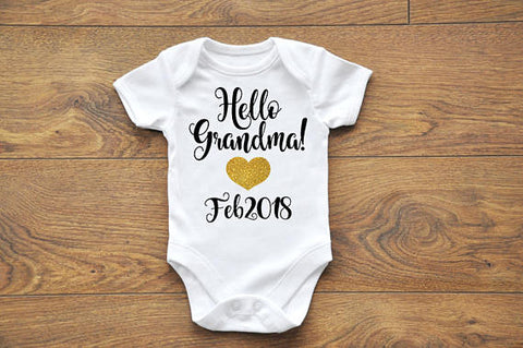 Hello Grandma Pregnancy announcement onesies