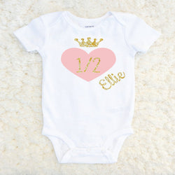 half  Birthday Infant onesie