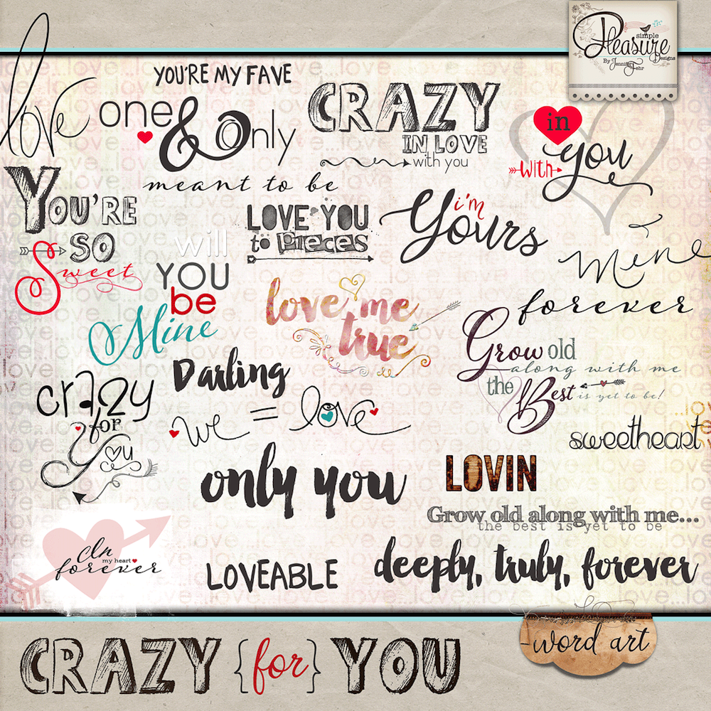 Crazy For You: Word Art