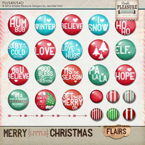 Merry little Christmas Flair Set