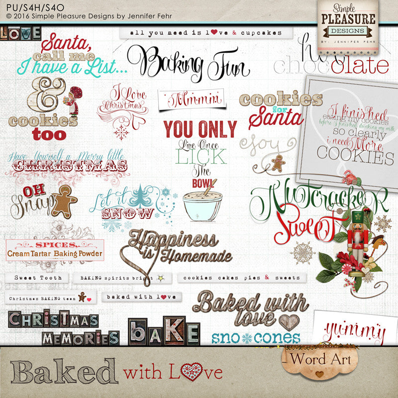 Baked with Love Word Art
