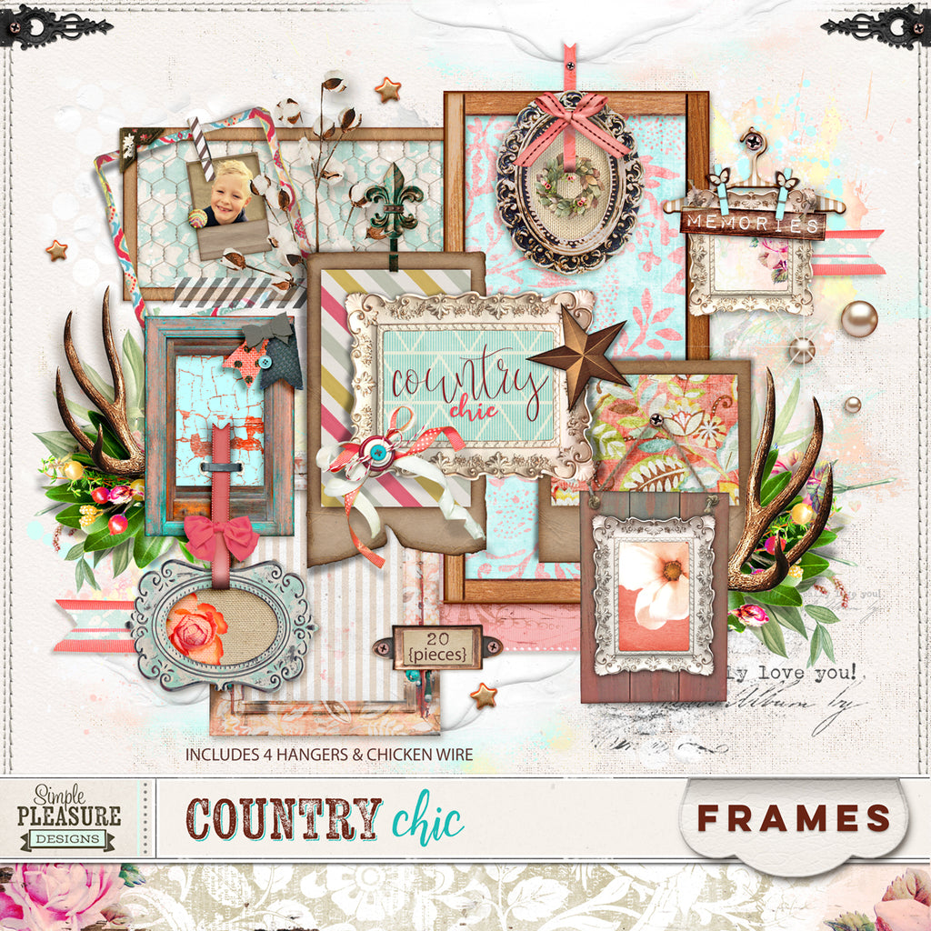 COUNTRY CHIC: Frame & Hanger Set
